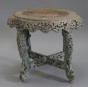 Indian Middle Eastern Pierced Carved Wood Table