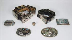 Grouping of Mexican Silver & Enamel Jewelry