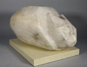 Helga Hannel Modernist Marble Cat Sculpture