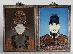 Pr Chinese Reverse Painted Ancestral Portraits
