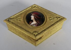 French Limoges Neoclassical Bronze Dresser Box