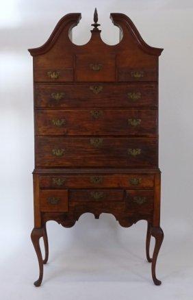 New England Queen Ann High Boy Cherry Cabinet