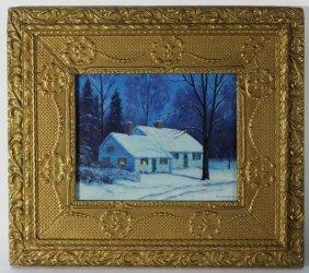 Francis Dixon Snowy Nocturnal Landscape Painting