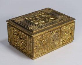 Tiffany Studios Gold Dore Bookmark Humidor Box