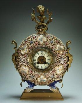 Fischer Budapest Bronze Porcelain Moonflask Clock