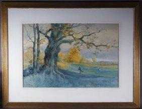 Clarence Scott White Fall Landscape W/c Painting