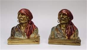 PR Paul Herzel Armor Bronze Pirate Bookends