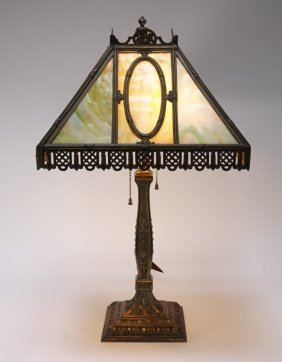 Wilkinson Lamp Co 12 Panel Slag Glass Lamp