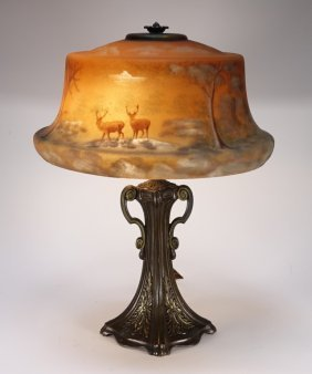 Pittsburgh Lamp Co Stag Reverse Obverse Glass Lamp