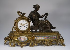 Antique French Gilt Bronze Porcelain Figural Clock