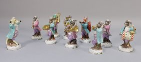 10 Pc. Dresden Painted Porcelain Animal Orchestra