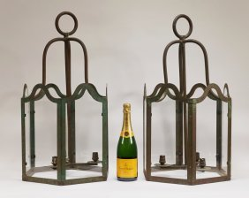 Pr Large Iron Hanging Coach Candle Lanterns