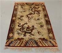 Antique Chinese Silk Dragon Design Rug