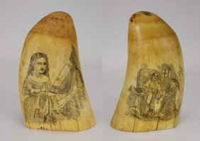 Antique 19c. Carved Scrimshaw Whales Tooth
