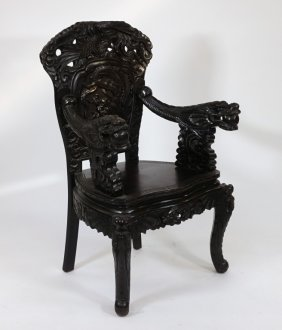 Japanese Carved Hardwood Throne Dragon Chair