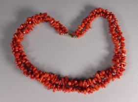 Chinese Coral Double Strand Natural Form Necklace
