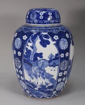 Chinese Kangxi Period Blue & White Porcelain Jar