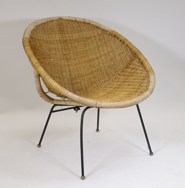 Mid Century Modern CALIF-ASIA Rattan Hoop Chair - 2