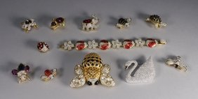 12 Swarovski Crystal Animal & Bug Brooch Grouping