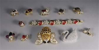 12 Swarovski Crystal Animal & Bug Brooch Grouping