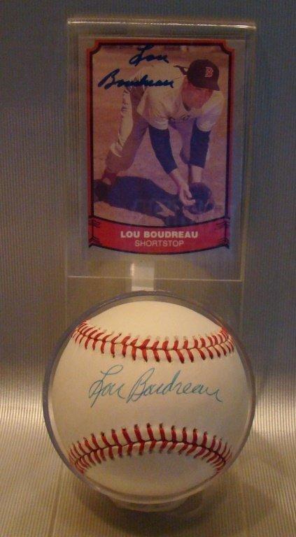 Lou Boudreau Signed Baseball & Card