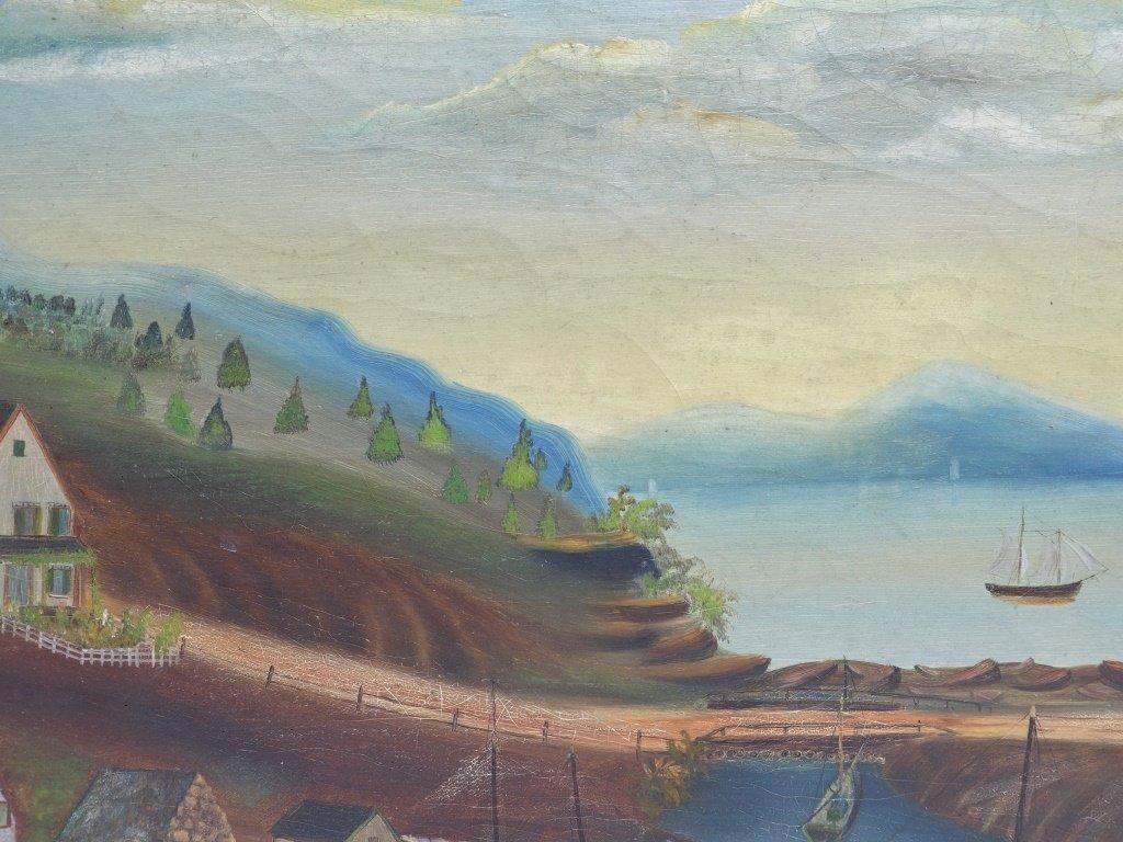 American 19C Folk Art O/C Harbor Scene Painting - 2