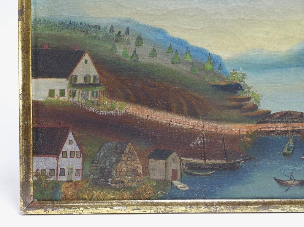 American 19C Folk Art O/C Harbor Scene Painting - 3