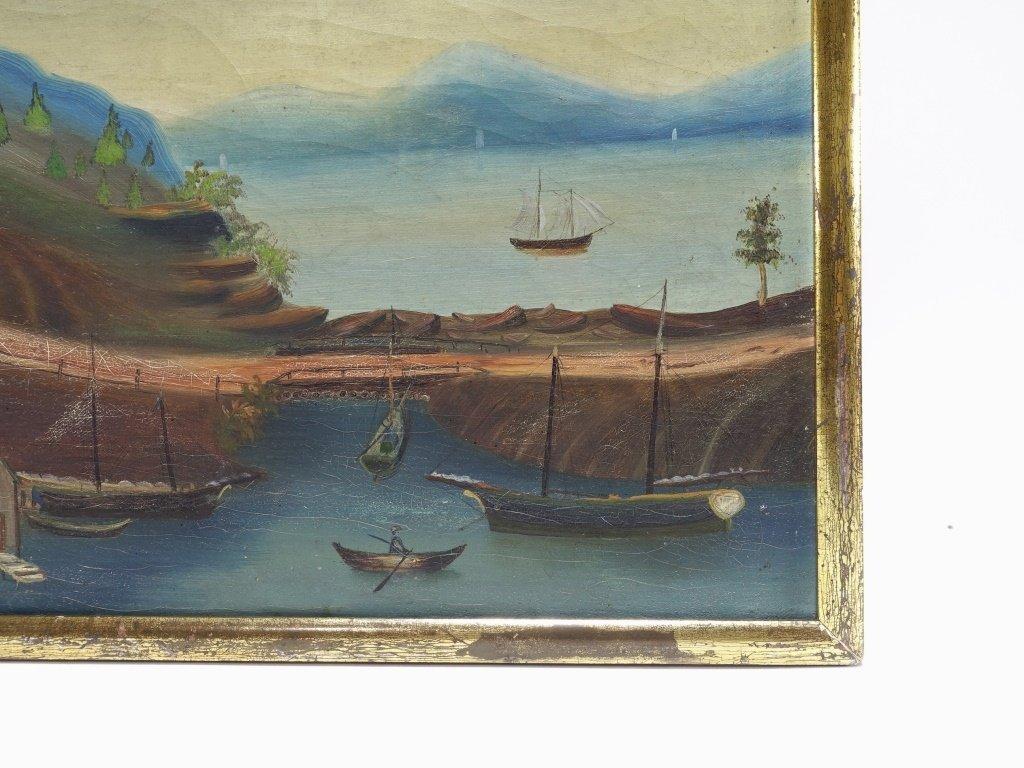 American 19C Folk Art O/C Harbor Scene Painting - 4