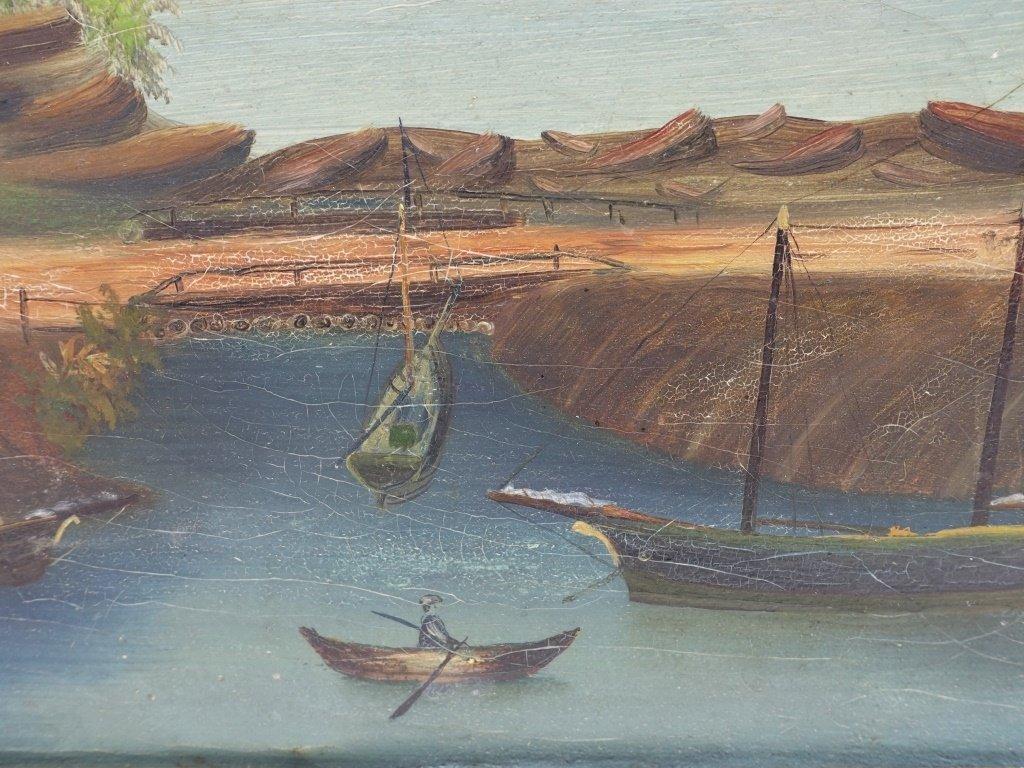 American 19C Folk Art O/C Harbor Scene Painting - 5