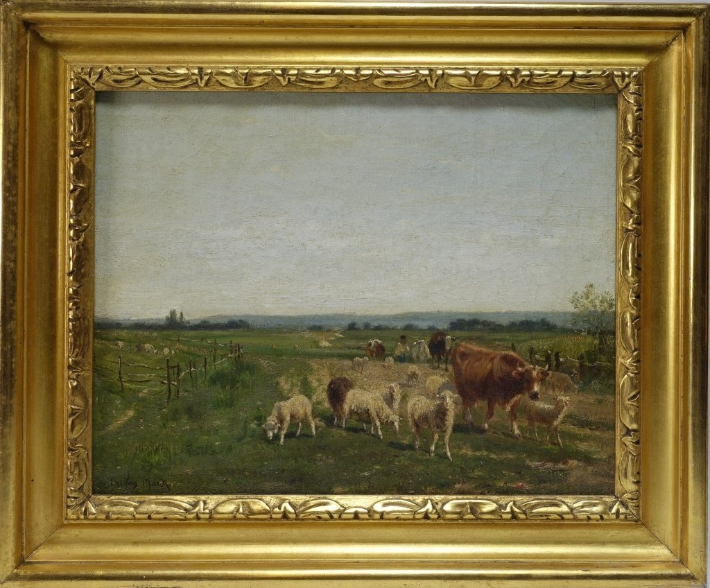 Emile Van Marcke Cows & Sheep Landscape Painting