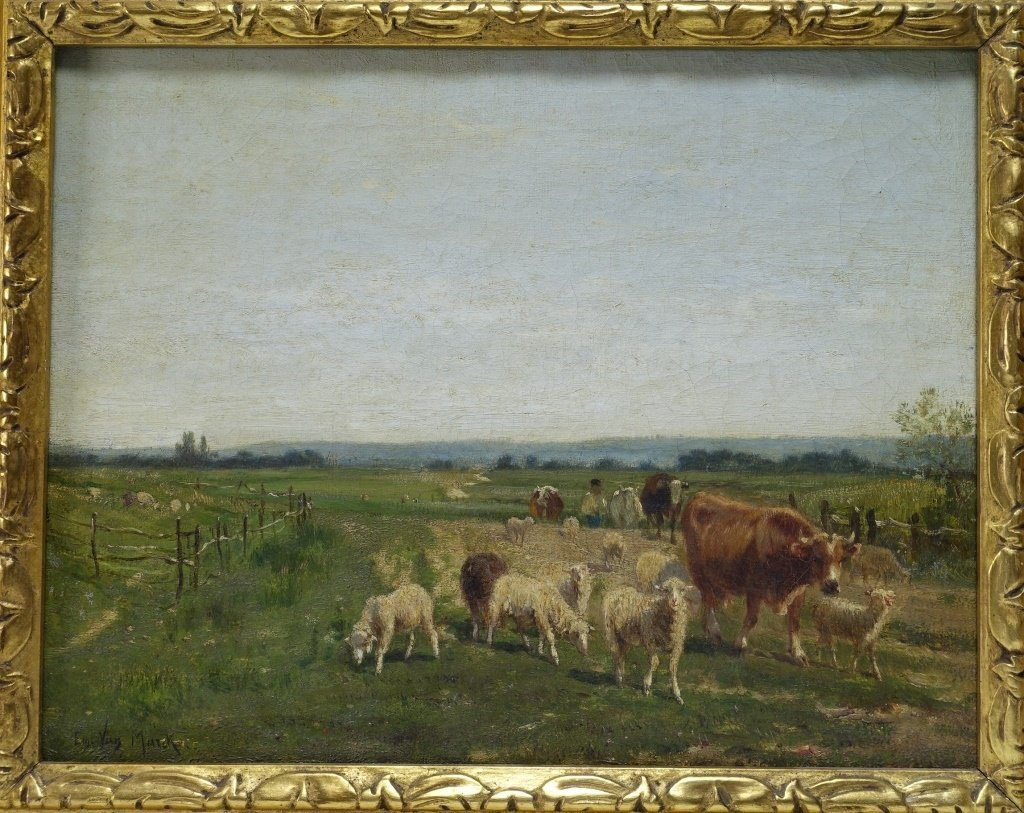 Emile Van Marcke Cows & Sheep Landscape Painting - 2
