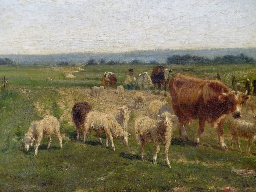 Emile Van Marcke Cows & Sheep Landscape Painting - 3