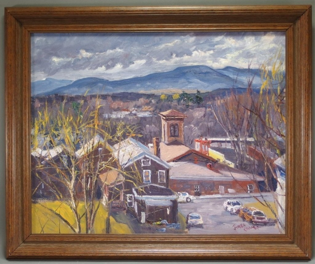 James Kramer Oil Landscape Village Painting