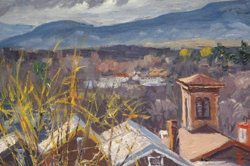 James Kramer Oil Landscape Village Painting - 4