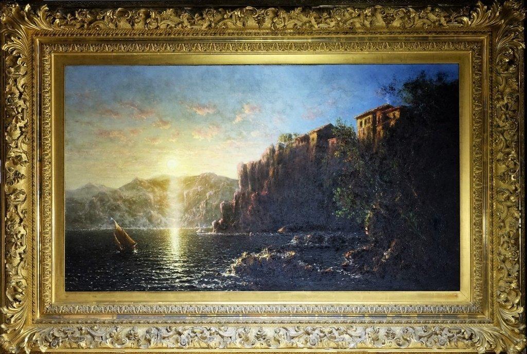 George Loring Brown Sorrento Sun Rise O/C Painting