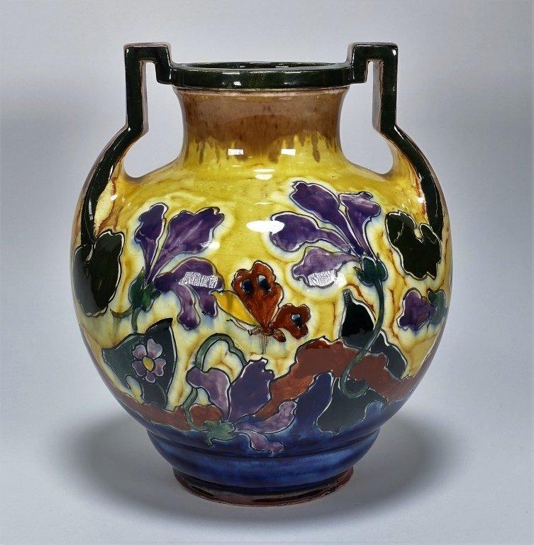 Austrian Art Nouveau Old Moravian Pottery Vase