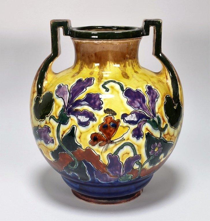 Austrian Art Nouveau Old Moravian Pottery Vase - 5