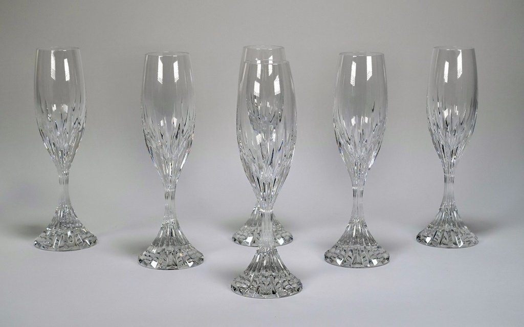 Set of 6 French Baccarat Massena Champagne Flutes