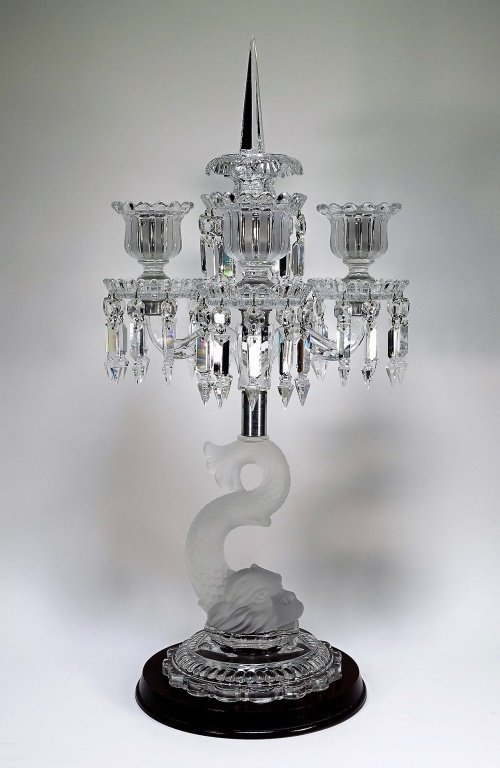 Baccarat Frosted Crystal Dolphin Candelabra