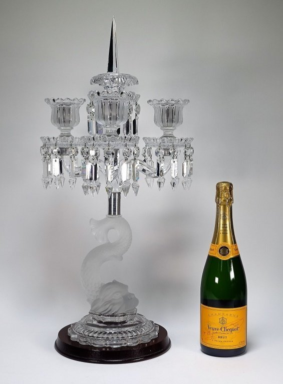 Baccarat Frosted Crystal Dolphin Candelabra - 6