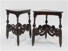 PR Kittinger Mahogany Inlaid Triangle Side Tables
