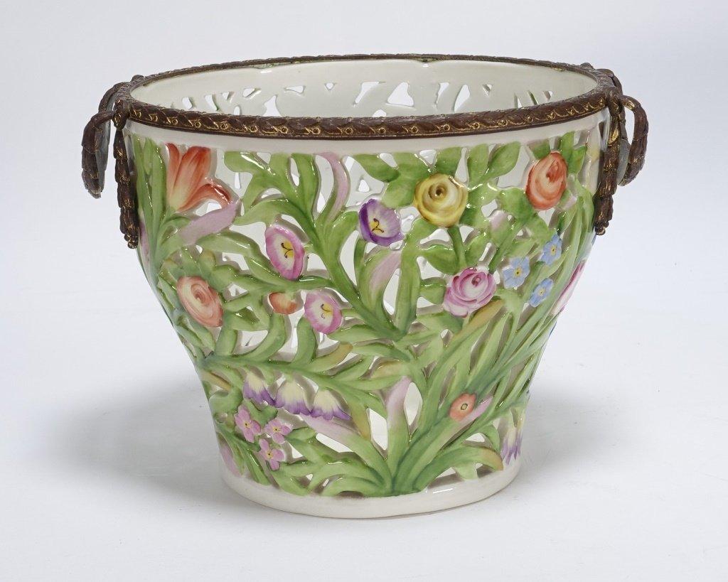 German Von Schierholz Porcelain Reticulated Basket