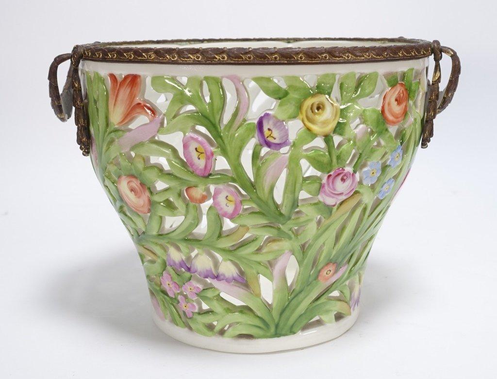 German Von Schierholz Porcelain Reticulated Basket - 2