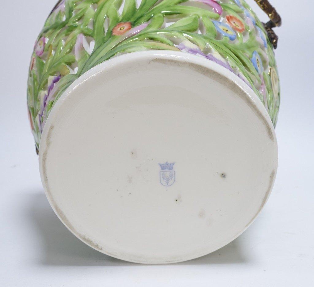 German Von Schierholz Porcelain Reticulated Basket - 6