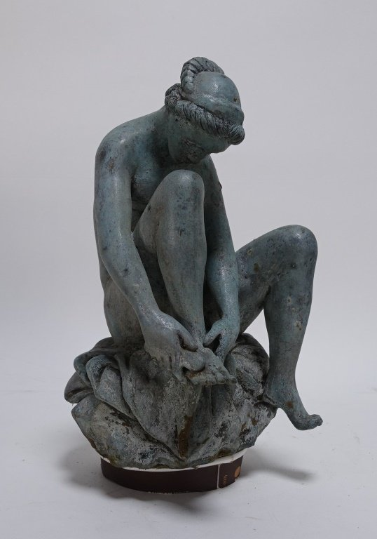 19C Bronze Neoclassical Nude Maiden Fountain Top