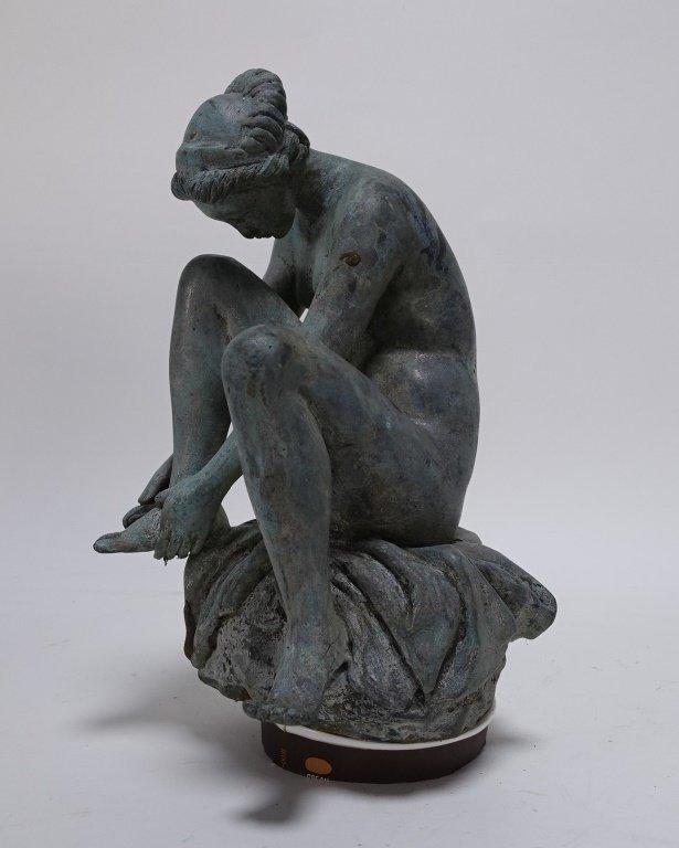 19C Bronze Neoclassical Nude Maiden Fountain Top - 2