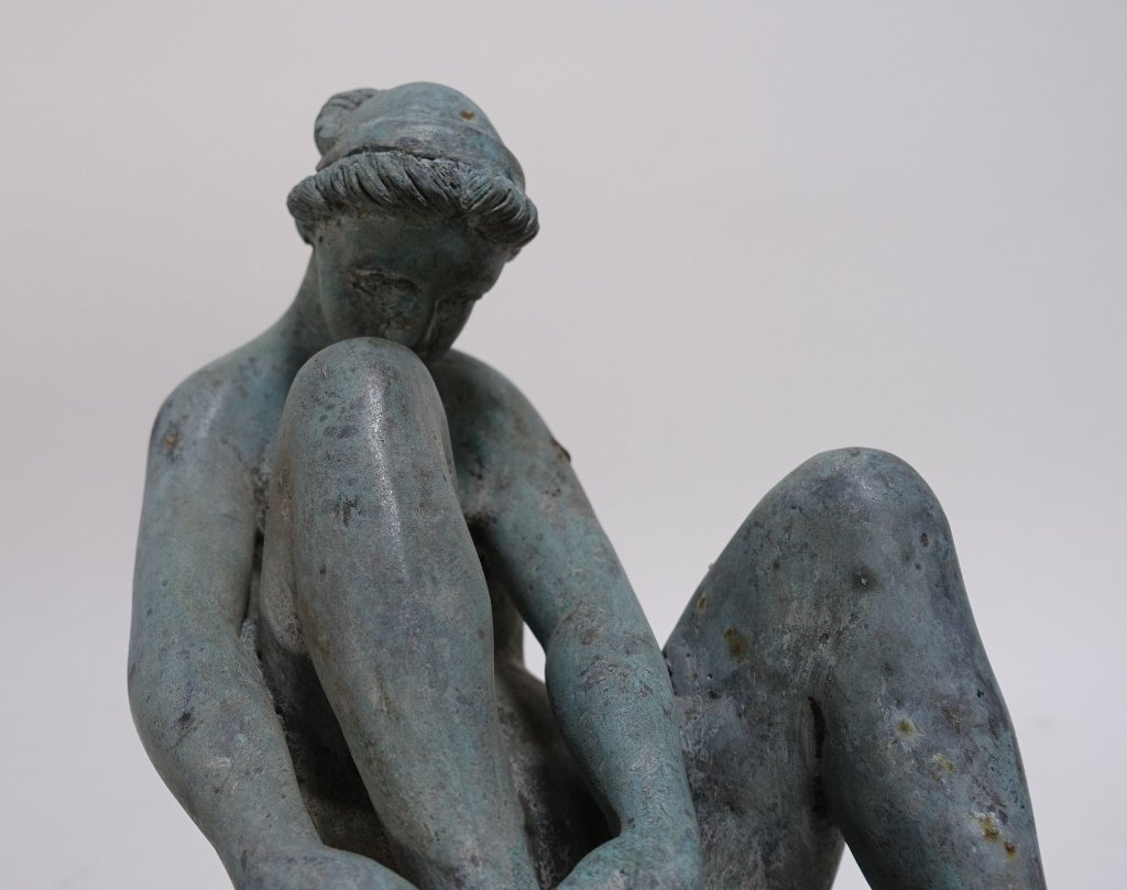 19C Bronze Neoclassical Nude Maiden Fountain Top - 5