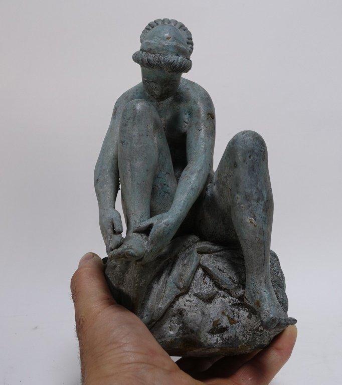 19C Bronze Neoclassical Nude Maiden Fountain Top - 7