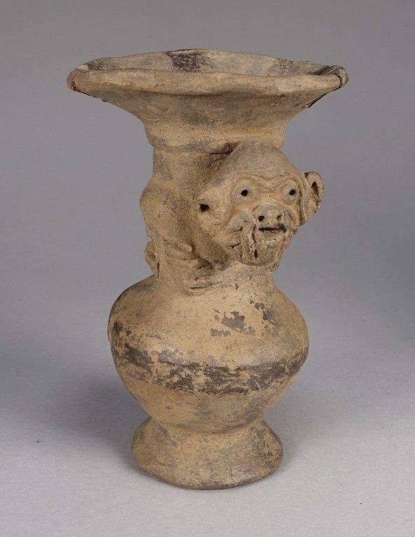Pre Columbian Peruvian Chimu Monkey Vase