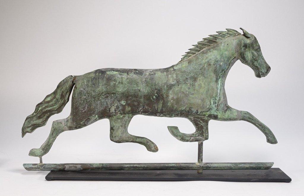 "Antique 26"" Copper Running Horse Weathervane"